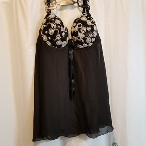 Black and white rosettes lingerie nighty babydoll
